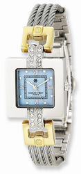 Charles Hubert 2-tone MOP Dial Stainless Steel Wire Bangle Watch