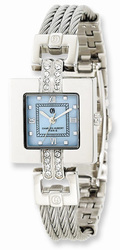 Charles Hubert Stainless Steel Wire Bangle Light Blue MOP Dial Watch