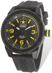 US Army Wrist Armor C20 Watch Black/Yellow Dial & Black Rubber Strap