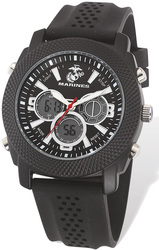US Marines Wrist Armor C21 Watch, Black/White Dial & Black Rubber Strap