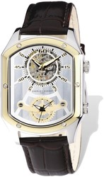 Mens Charles Hubert IP 2-tone Leather 38x46mm Dual Time Watch