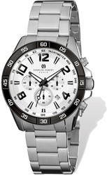Mens Charles Hubert Stainless Steel White Dial Chronograph Watch