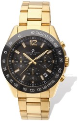 Mens Charles Hubert IP-plated Black Dial Chronograph Watch