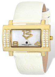 Ladies Charles Hubert Stainless White Leather 40x23mm Watch