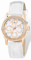 Ladies Charles Hubert Rose IP-plated Crystal Bezel White Band Watch