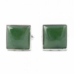 Genuine Natural Nephrite Jade Square Cufflinks on Surgical Steel