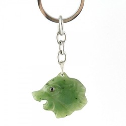 Genuine Natural Nephrite Jade Bear Head Keychain