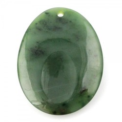 Large Genuine Natural Nephrite Jade Worry Stone w/ Hole