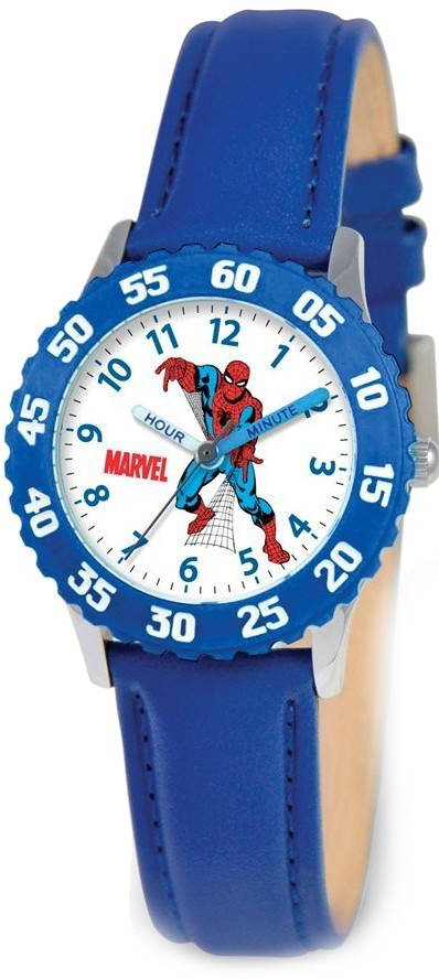 Marvel Spiderman Blue Leather Strap Time Teacher Watch