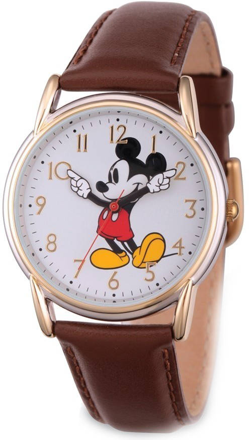 Disney Adult Size Brown Strap Mickey Mouse w/ Moving Arms Watch
