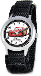 Disney Kids Cars Lightning McQueen Black Strap Time Teacher Watch