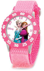 Disney Kids Elsa/Anna Pink Strap Time Teacher Watch