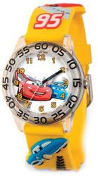 Disney Kids Cars Yellow Strap Acrylic Time Teacher Watch