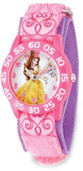 Disney Kids Belle Pink Strap Acrylic Time Teacher Watch