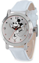Disney Adult Size White Strap Mickey Mouse w/ Moving Arms Watch