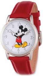 Disney Adult Size Red Strap Mickey Mouse w/ Moving Arms Watch