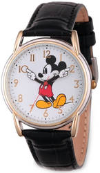 Disney Adult Size Black Strap Mickey Mouse w/ Moving Arms Watch XWA5772