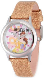 Disney Kids Belle Believe in You Golden Strap Tween Watch