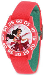 Disney Kids Elena of Avalor Red Strap Acrylic Time Teacher Watch