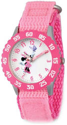 Disney Kids Minnie Mouse Pink Strap Time Teacher Watch