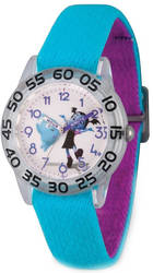 Disney Kids Vampirina & Demi Blue Strap Acrylic Time Teacher Watch