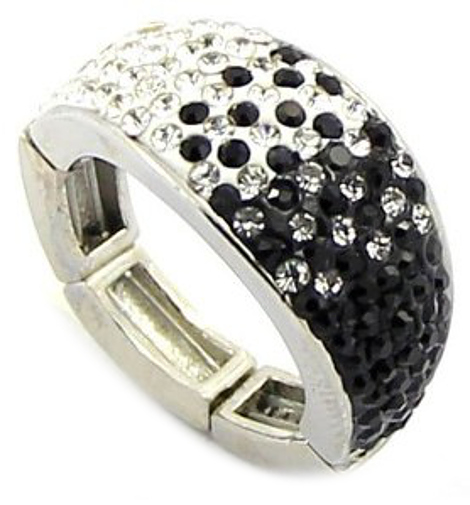 Adjustable Magnetic Ring with Black & White Crystals