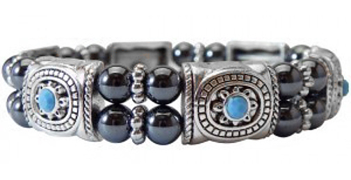 "7.5"" Two-Stack Magnetic Hematite Bracelet w/ Blue Bead Accents"
