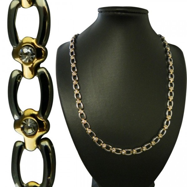 "18"" Two-Tone Cutout Link w/ CZ Stainless Steel Magnetic Therapy Necklace"