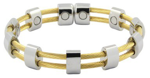 Gold-Tone & Silver-Tone Double Cable Row Magnetic Therapy Cuff Bracelet
