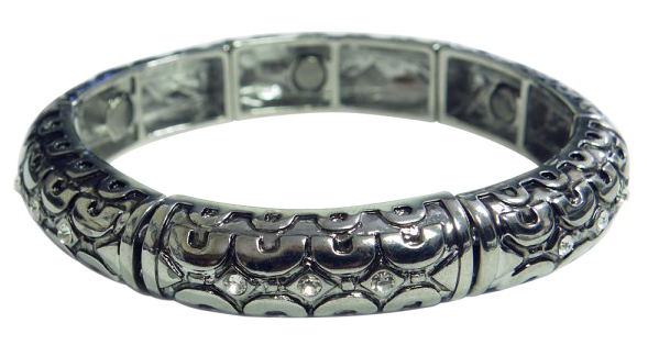Silver-Tone Magnetic Bangle Bracelet w/ Crystals & Ornate Design