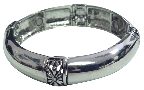 Silver-Tone Magnetic Bangle Bracelet w/ Flower Design