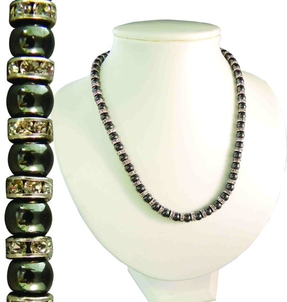 "17"" Magnetic Hematite Necklace w/ Austrian Crystal Rondelles"