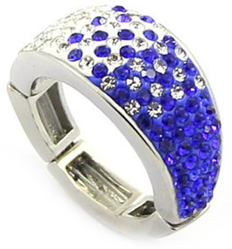 Adjustable Magnetic Ring with Purple & White Crystals