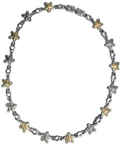 "17"" Two-Tone Starfish Stainless Steel Magnetic Therapy Necklace"