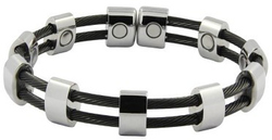 00ad9a883e9 Black & Silver-Tone Double Cable Row Magnetic Therapy Cuff Bracelet