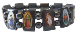 Wide Magnetic Hematite Bracelet with New Testament Religious Icons