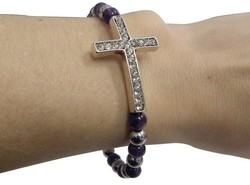 Elastic Cross w/ Crystals & Purple Beads Magnetic Bangle Bracelet