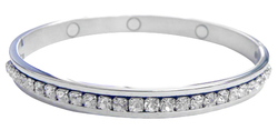 Silver-Tone Magnetic CZ Hinged Bangle Bracelet