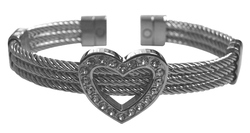 Triple Braided Cable Heart CZ Magnetic Cuff Bracelet