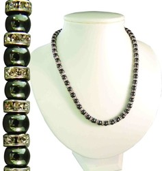 17 Magnetic Hematite Necklace w/ Austrian Crystal Rondelles