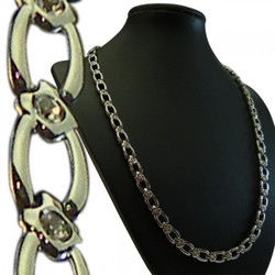 20 Silver-Tone Cutout Link w/ CZ Stainless Steel Magnetic Therapy Necklace