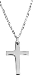24 Silver-Tone Cross Magnetic Therapy Stainless Steel Pendant Necklace
