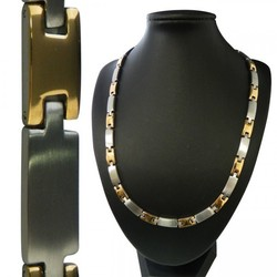 20.5 Two-Tone H Stainless Steel Magnetic Therapy Link Necklace for Men or Women
