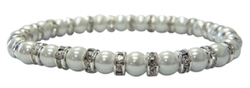 White Simulated Pearls & Crystal Magnetic Bracelet