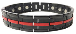 Racer - Black & Red Stainless Steel Magnetic Therapy Link Bracelet - New!