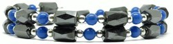 Simulated Lapis Small Wrap Around - Hematite Magnetic Therapy Bracelet-Anklet (HB-24)