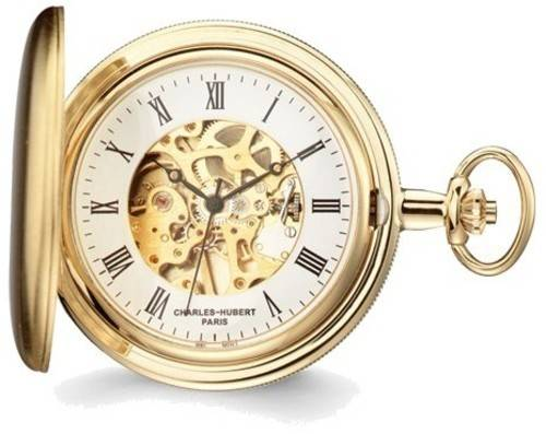 Charles Hubert Satin Gold-Finish Brass Pocket Watch