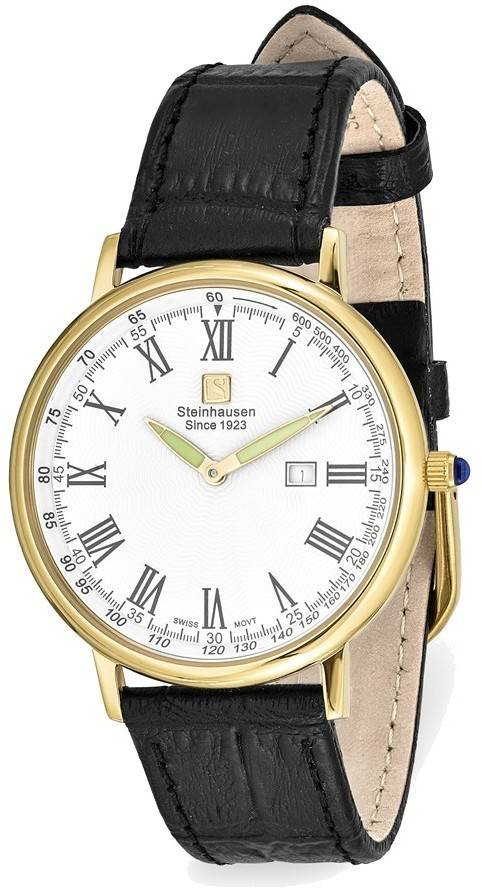 Steinhausen Altdorf IPG-plated White Dial Black Strap Watch