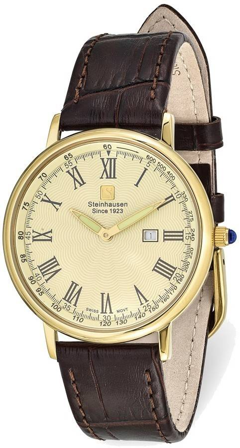 Steinhausen Altdorf IPG-plated Champagne Dial Brown Strap Watch
