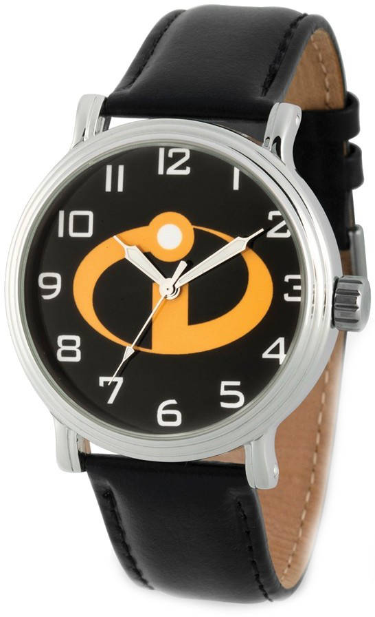 Disney Adults Incredibles 2 Logo Black Leather Watch